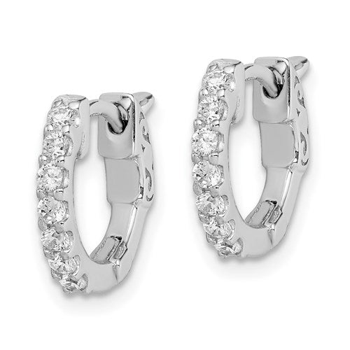 Small Silver CZ Hoop Earrings