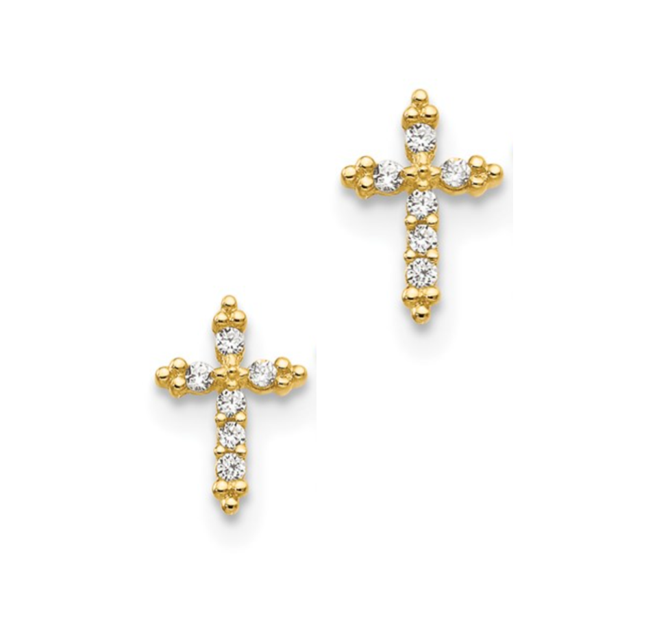 14K Intricate CZ Stone Cross Earrings