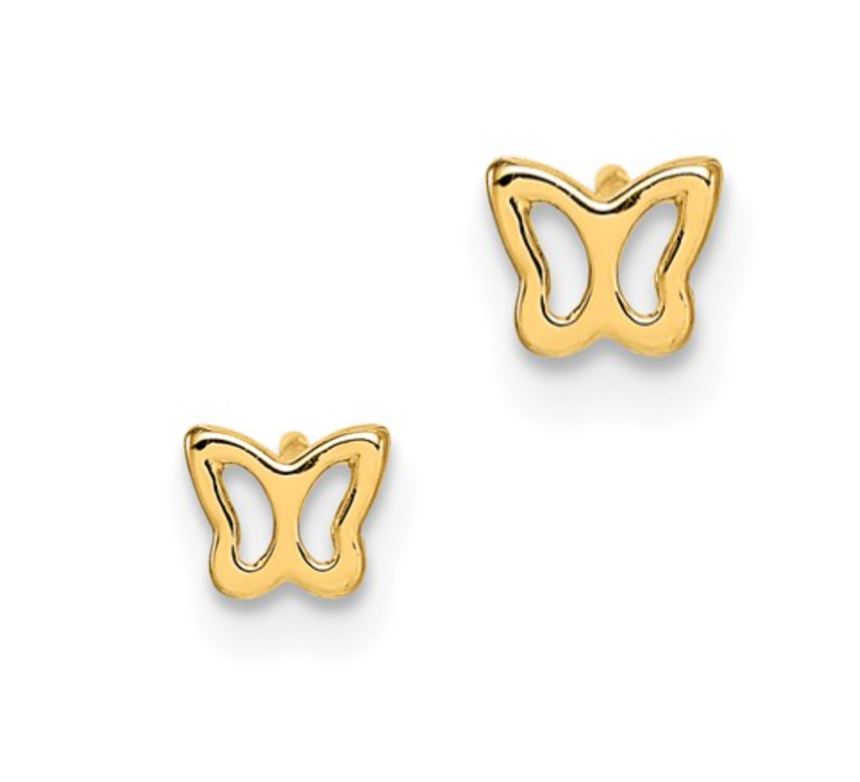 14K Tiny Butterfly Earrings