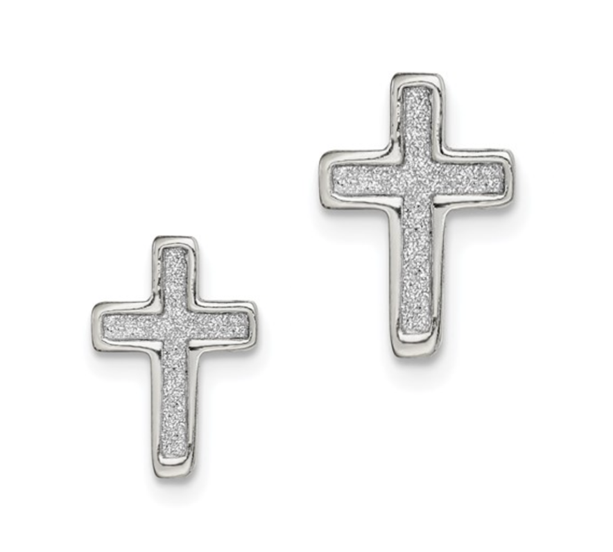 Glitter Infused Silver Cross