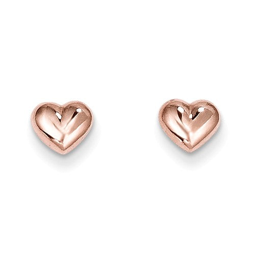 14K Rose Gold Puffy Hearts
