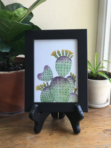 Purple Green Prickly Pear Heart