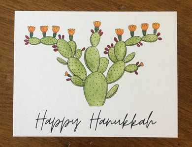 Happy Hanukkah Prickly Pear Menorah Greeting Card