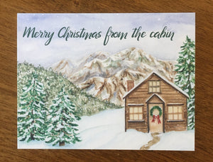 Christmas Cabin Greeting Card