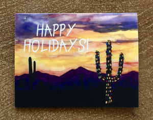 Happy Holidays Saguaro Greeting Card