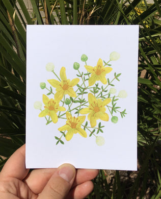 A2 greeting card with a watercolor yellow creosote bush by Brushes and Boots