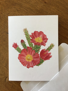 Staghorn cholla watercolor design by Brushes and Boots on an A2 greeting card