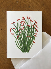 Load image into Gallery viewer, Ocotillo watercolor design by Brushes and Boots on an A2 greeting card