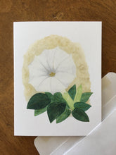 Load image into Gallery viewer, Sacred datura watercolor design by Brushes and Boots on an A2 greeting card