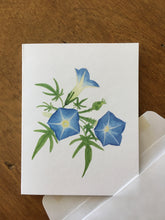 Load image into Gallery viewer, Canyon morning glory watercolor design by Brushes and Boots on an A2 greeting card