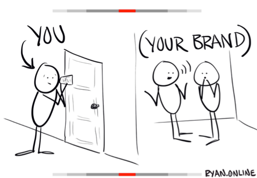 cartoon illustration that states you and your brand
