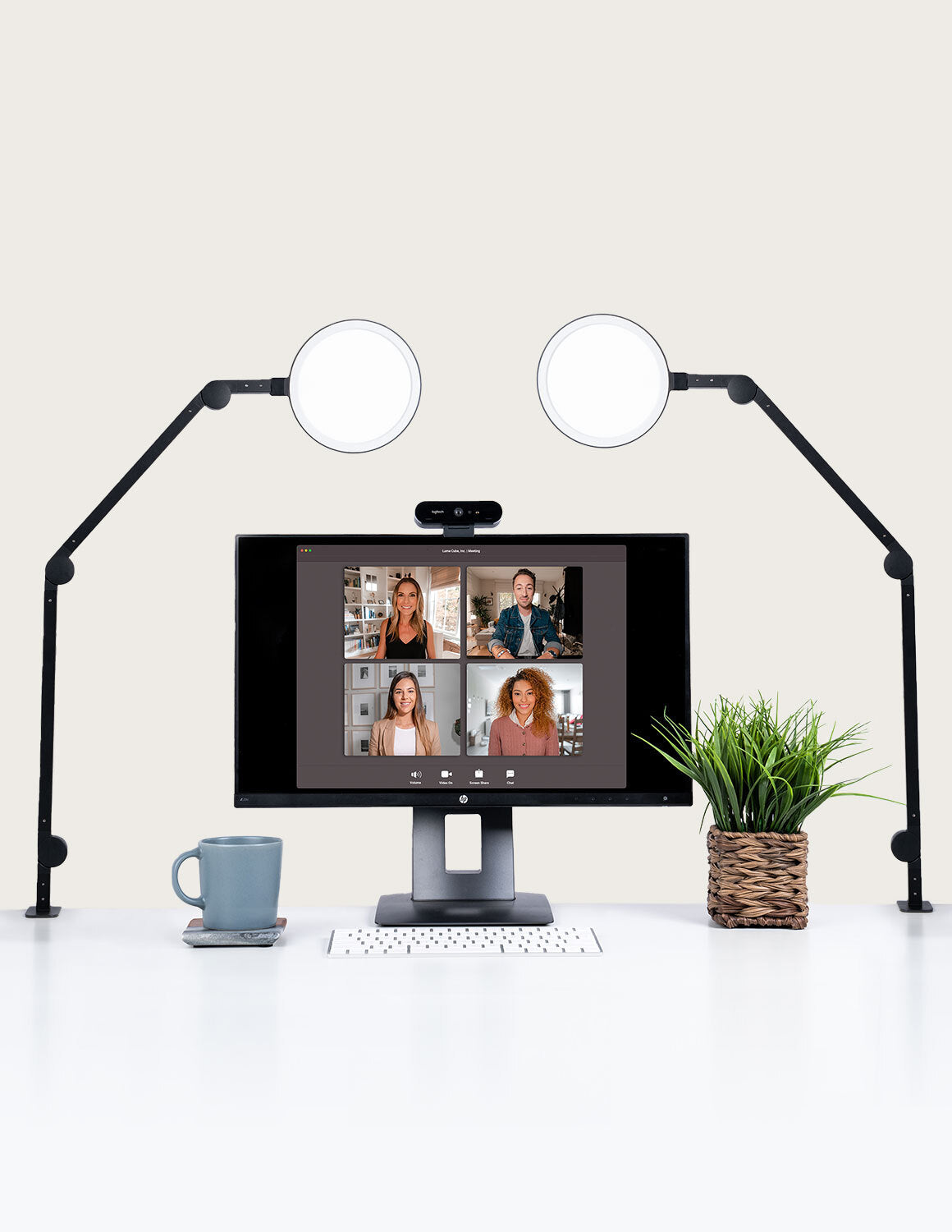 lume cube edge light 2 pack desk set up for video conferencing and streaming