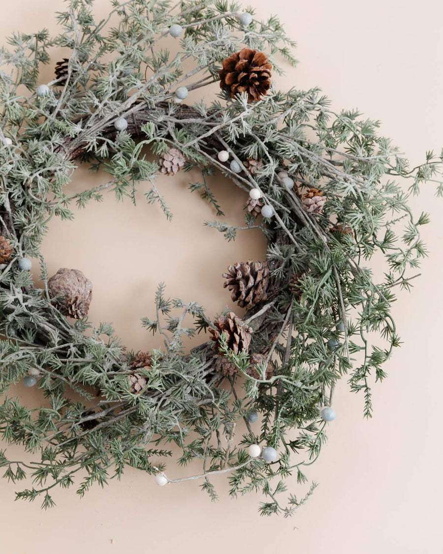 Holiday Evergreen & Pinecone Wreath