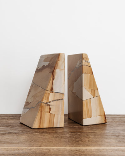 Chunky Marble Wedge Bookend