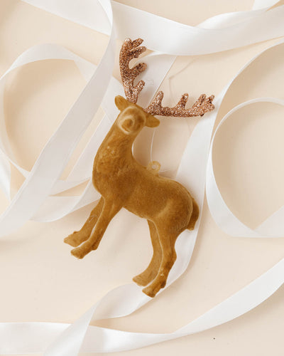 Flocked Deer Ornament
