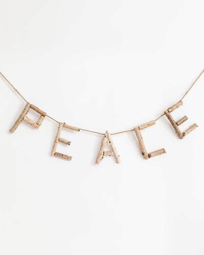 """Peace"" Birch Wood Banner"