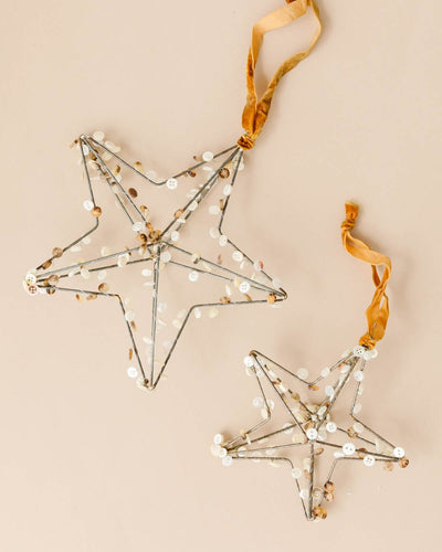 Metal Star Button Ornaments (Set of 3)