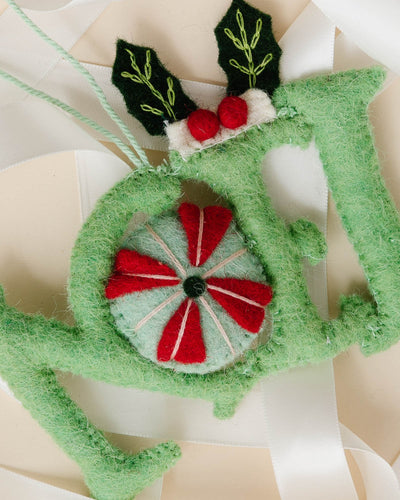 """Noel"" Felt Embroidered Ornament"