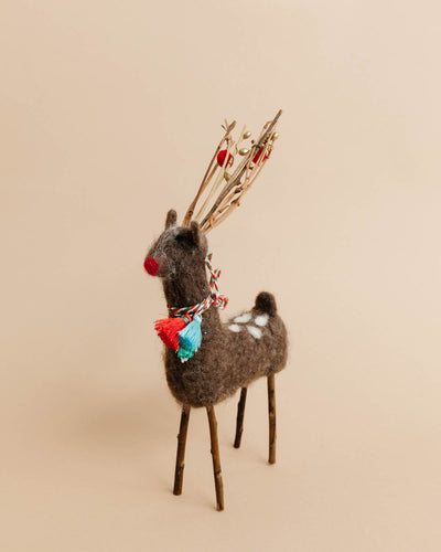 Felted Deer with Twig Antlers