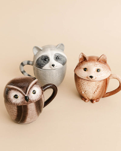 Woodland Animal Ceramic Covered Mugs (Set of 3)
