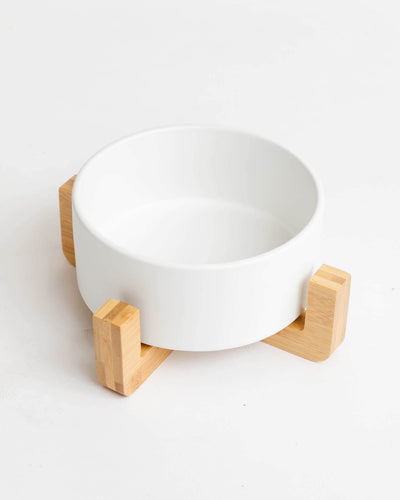 Wood Base Ceramic Bowl