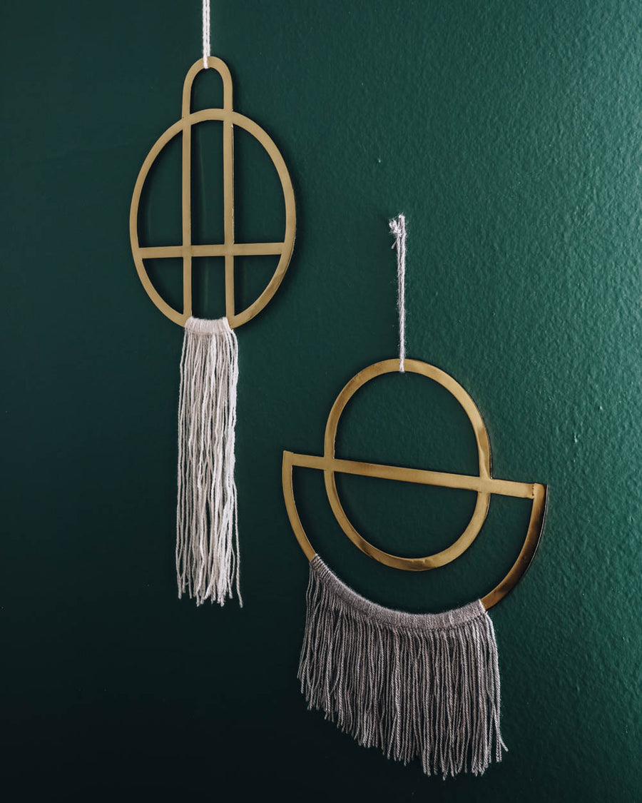 Brass + Fringe Wall Hanging (white)