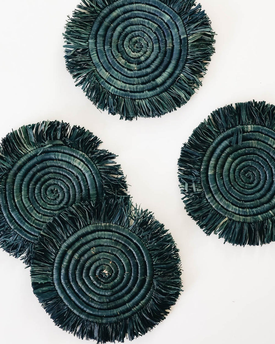 Edlyn Fringed Raffia Coasters
