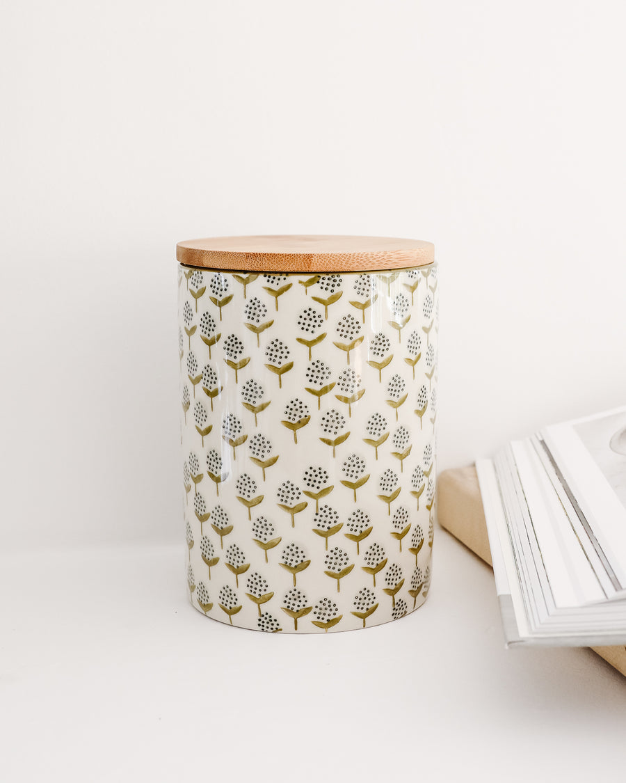 Floral Canister w/ Bamboo Lid