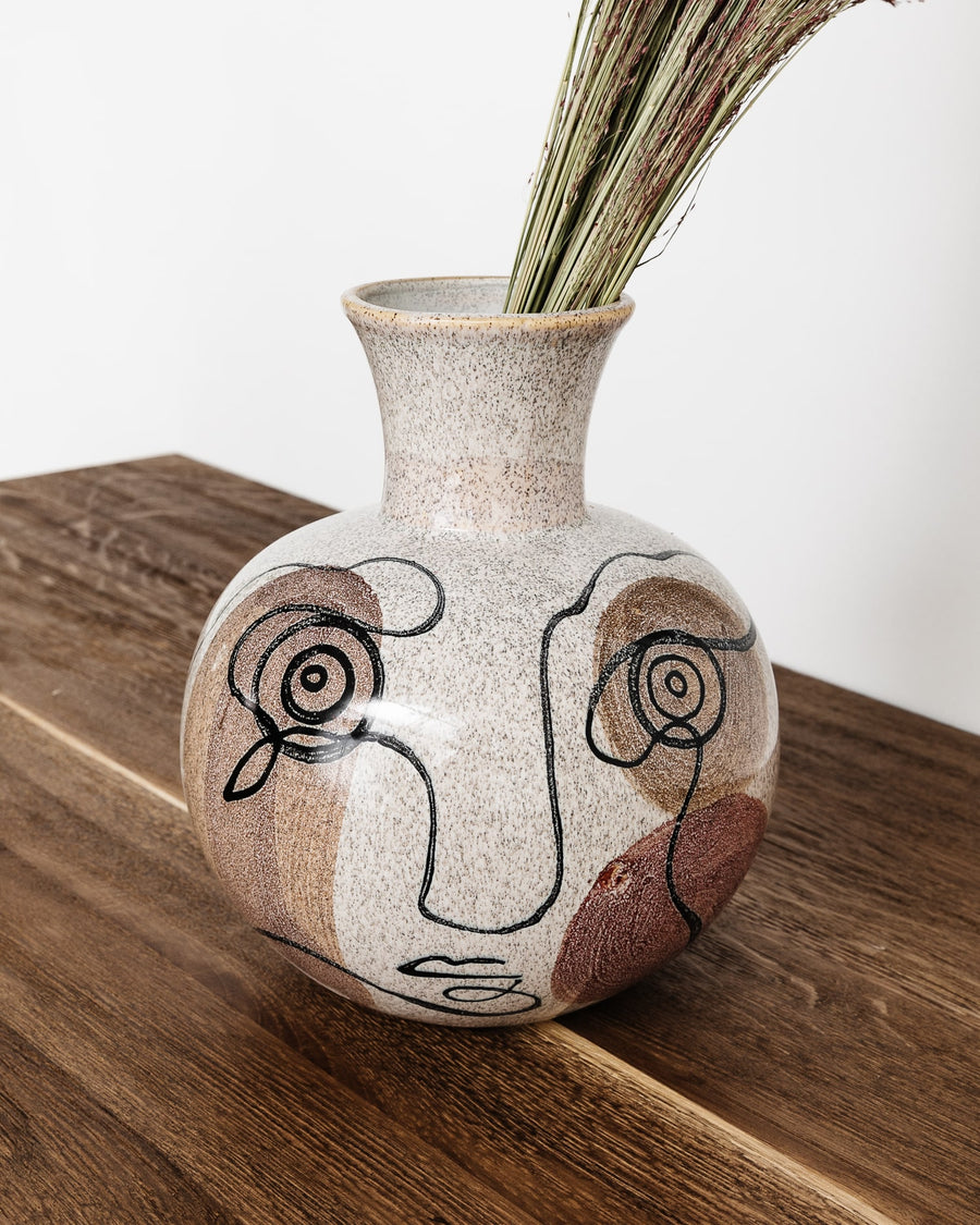 Abstract Face Stoneware Vase