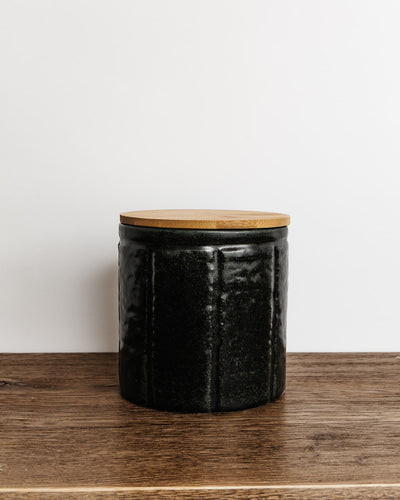 Addie Stoneware Canisters w/ Bamboo Lid