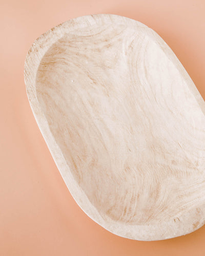 Hand-Carved Paulownia Wood Bowl