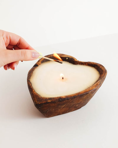 Hand Carved Wooden Heart Candle