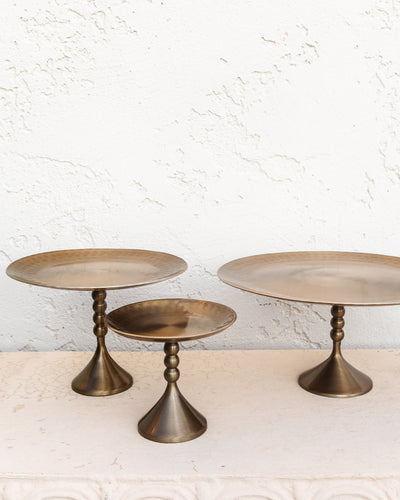 Isabel Hammered Bronze Pedestal Trays