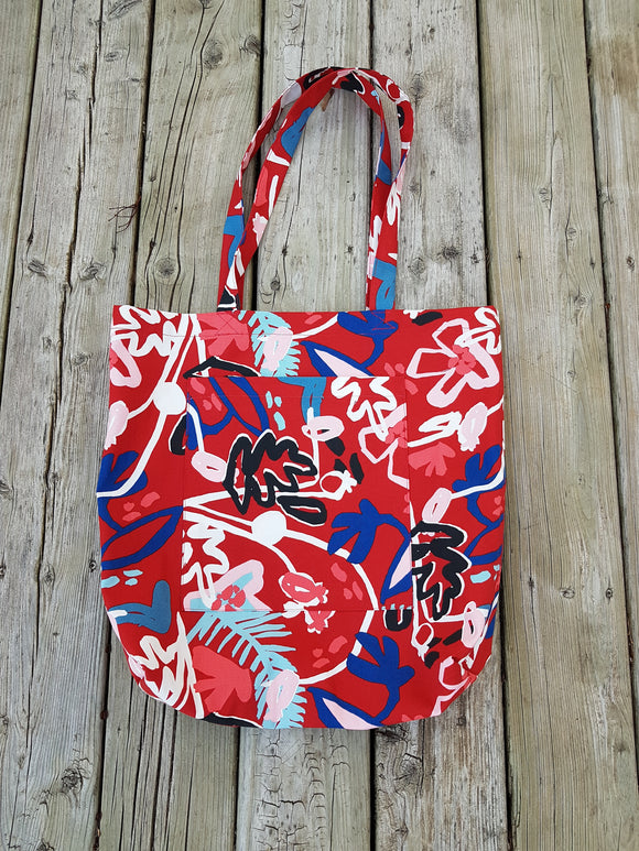 131 ($35) Bag - Red with Leaves Pattern