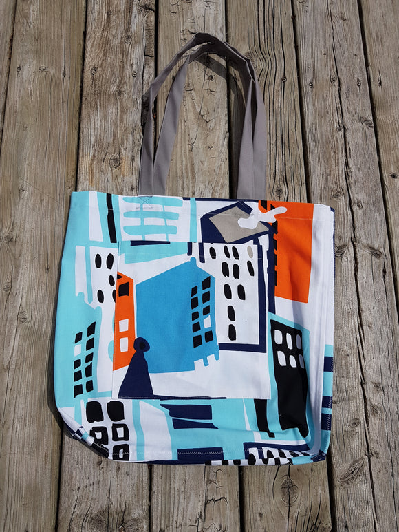 131 ($35) Bag - Blue City Pattern