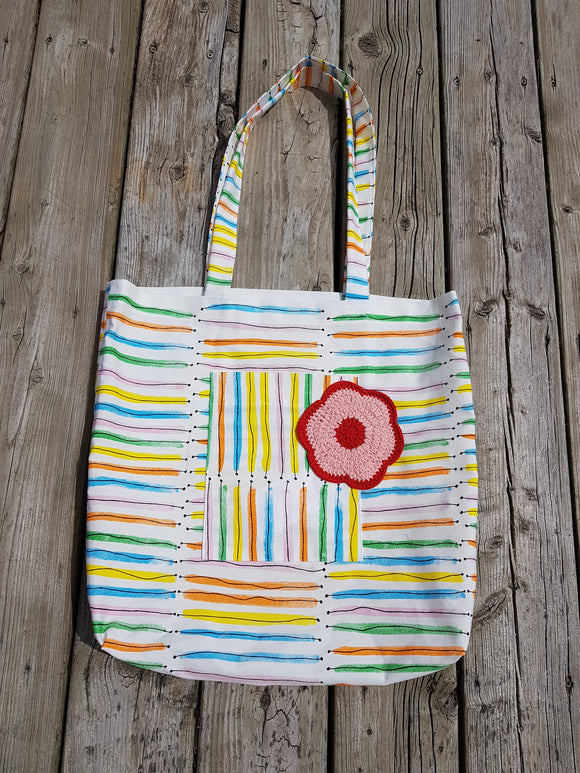 131 ($35) Bag - White with Colour Stripes