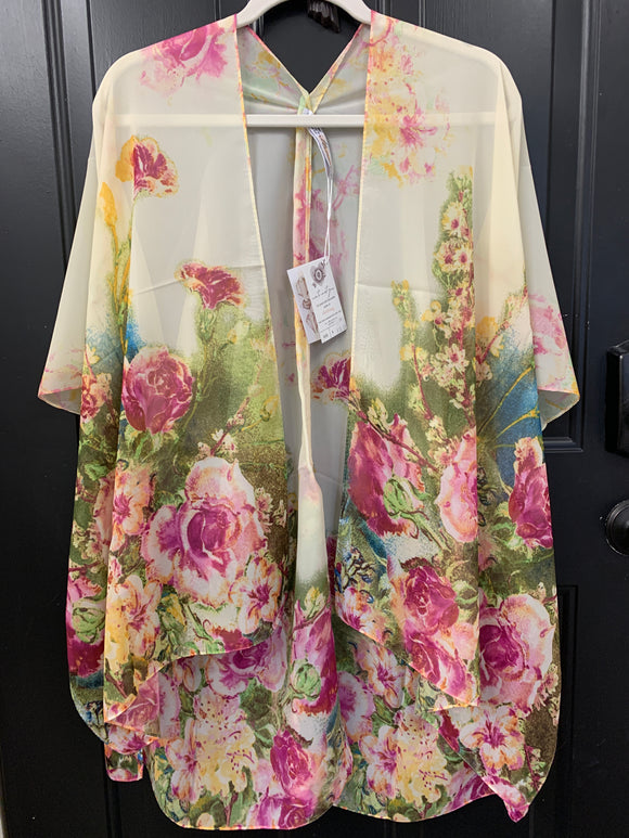 001 ($56) Chiffon - Cream with Green Yellow Pink Flowers