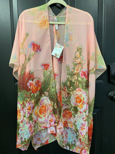 001 ($56) Chiffon - Pink with Green Red Pink Blue Yellow Flowers