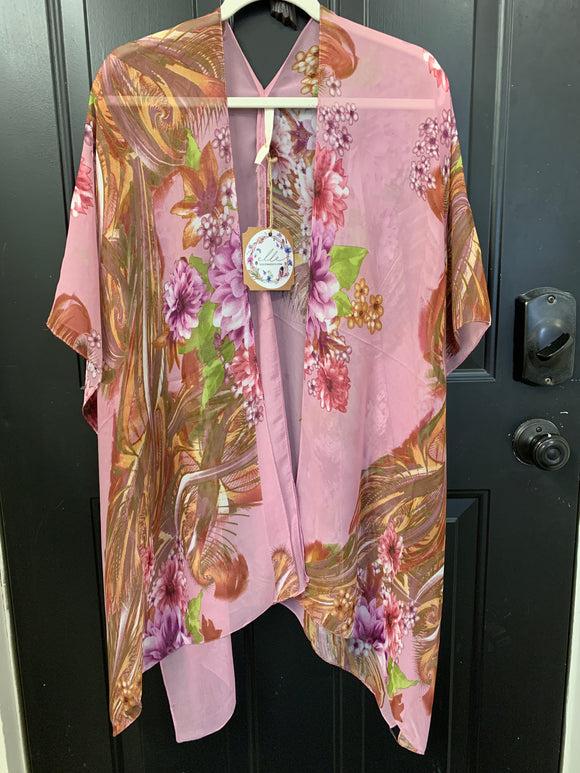 001 ($56) Chiffon - Pink with Purple Mauve Rust Flowers