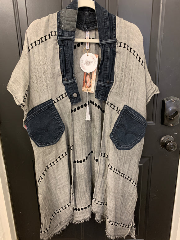 001 ($120) Denim - Grey and Black with Denim Collar and Pockets