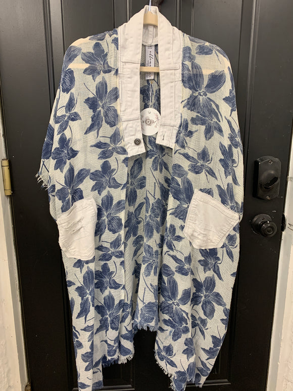 001 ($120) Denim - White Blue Flowers with Denim Collar and Pockets