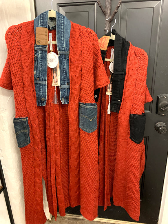 001 ($150) Denim - Knit - Rust