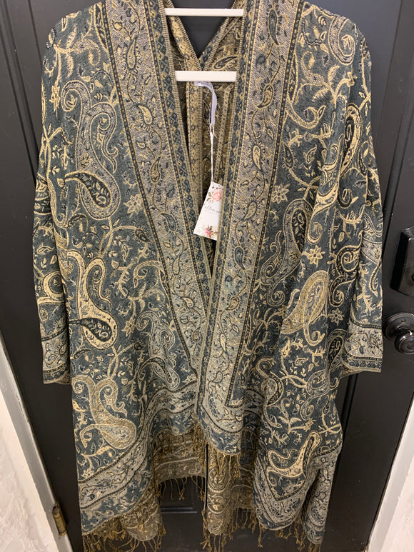 001 ($76) Woven Kimono - Black and Gold Paisley Pattern with Border