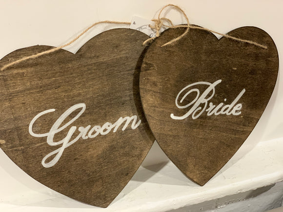 141 ($15) Heart Set - Bride and Groom - Hanging