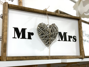 141 ($55) Sign - Mr Mrs with Heart