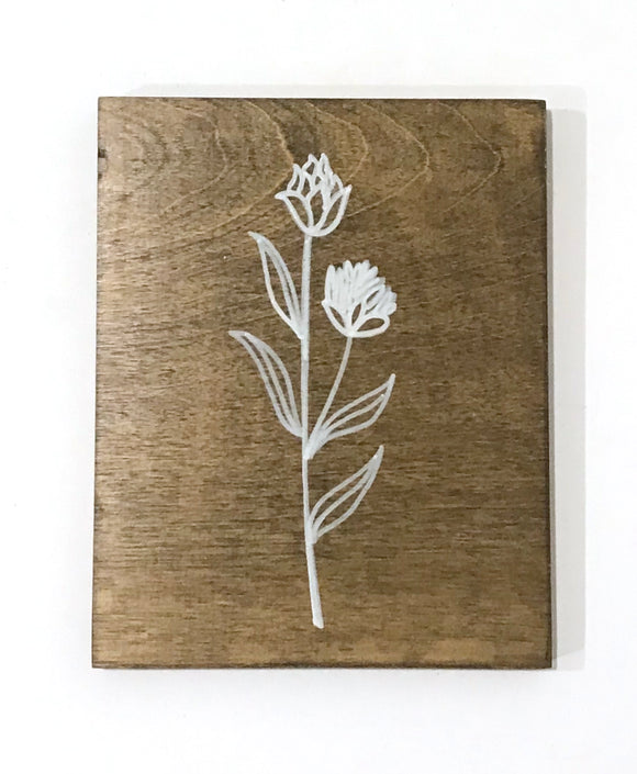 141 ($17) Wood Sign - Flower