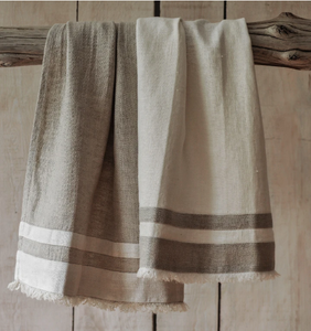 076 ($18) Tea Towel Lipari - White with Beige Stripes - Linen