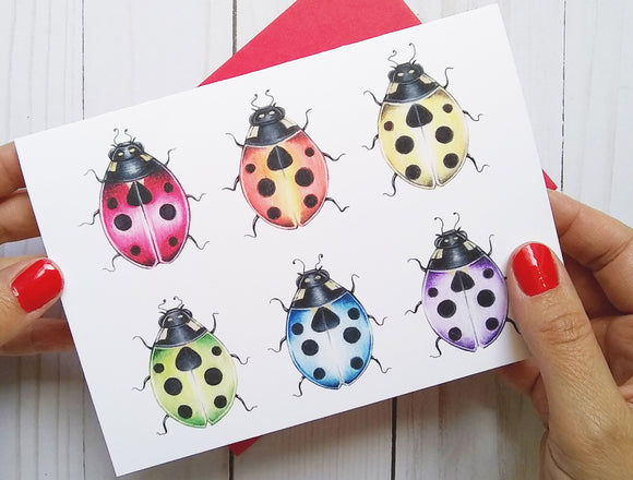 205 ($6) Cards - Rainbow Ladybugs