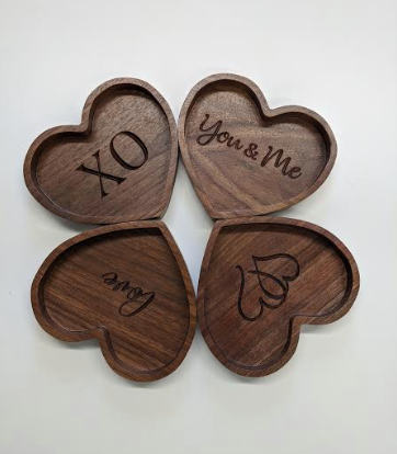 000 ($25) Heart Shaped Wooden Bowls