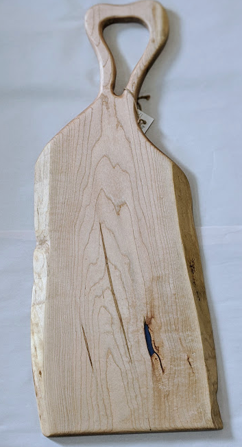 115 ($160) Wood Board - Maple with Handle & Blue Epoxy
